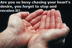 Are you so busy chasing your heart's desire that you forget to stop and receive it?